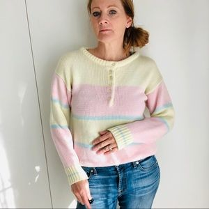Vintage 80s Pastel Rugby Style Sweater Pink/Blue S
